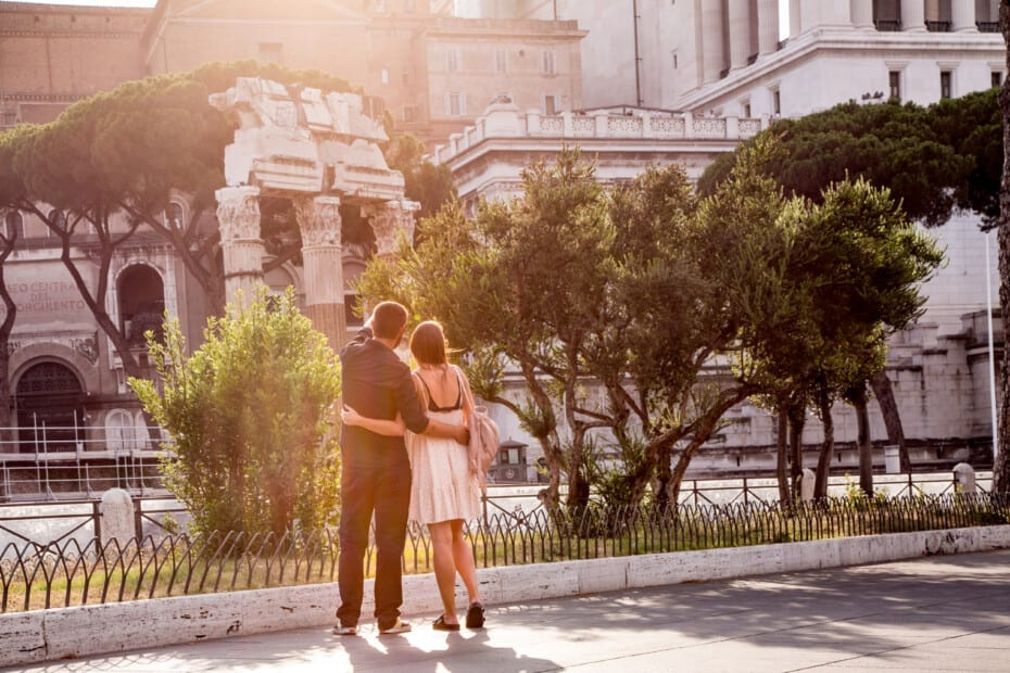 Ancient Rome - Fori Imperiali - young couple at sunset