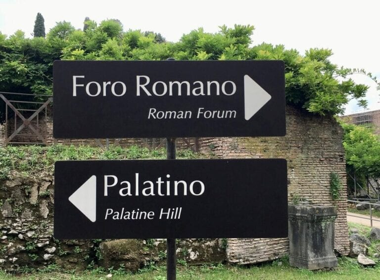 Private Colosseum and Ancient Rome Tour signs in the Roman Forum