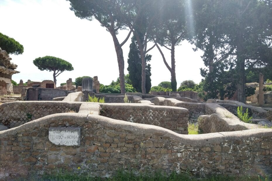 Ostia Antica - Port of Ancient Rome - ruins with trees