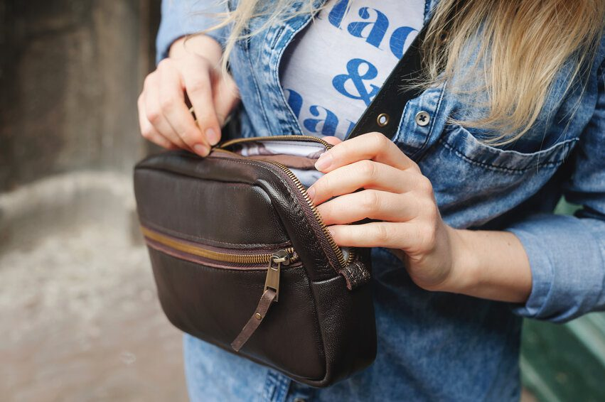 girl with safety purse
