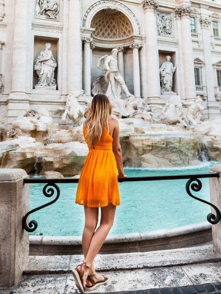 girl at Trevi Fountain in Rome